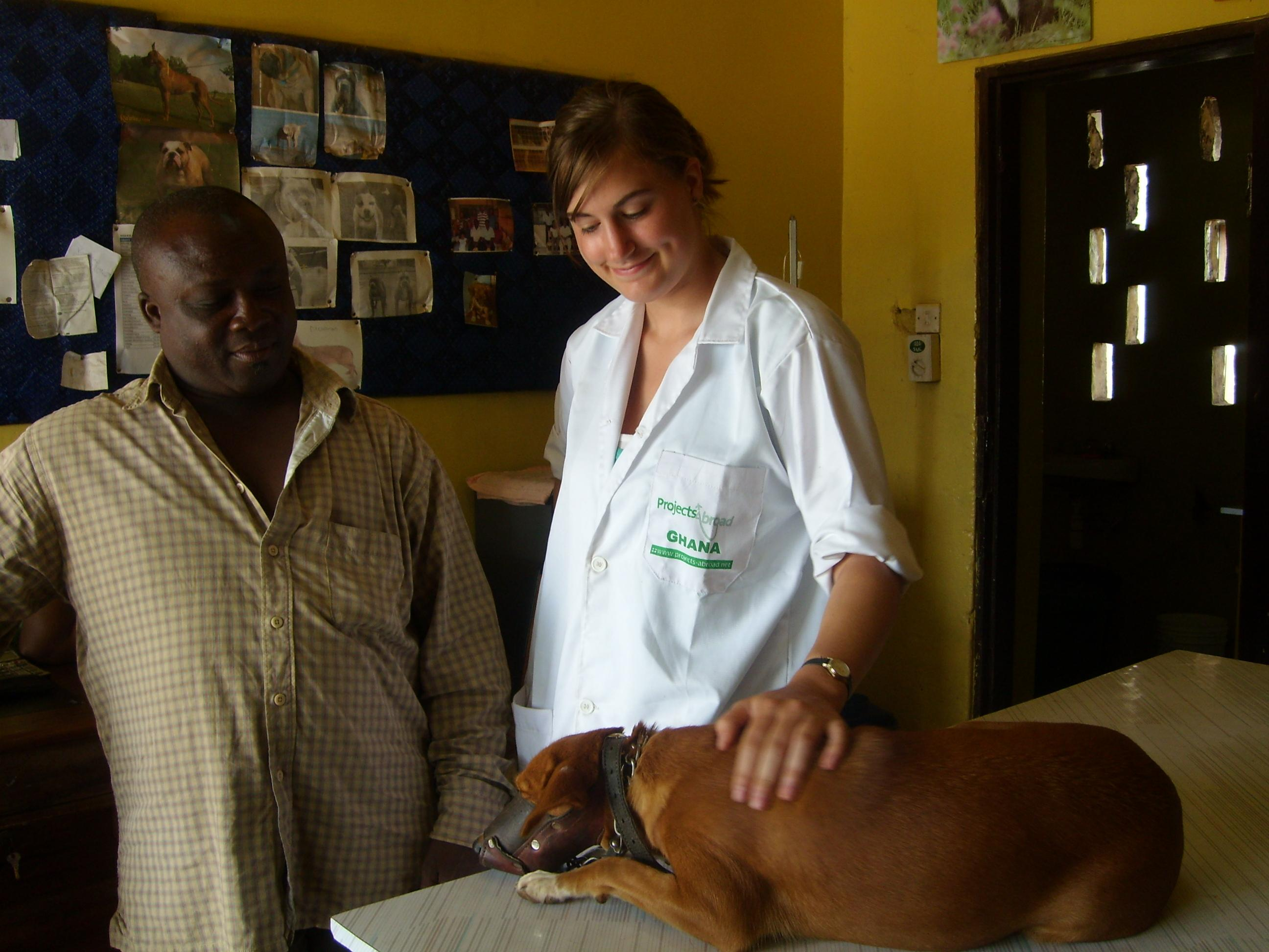 A local man talks to an intern doing a Veterinary Medicine internship in Ghana about his dog.